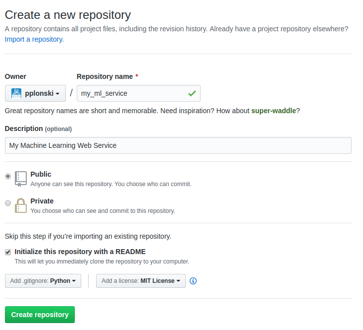 Figure 1: Setup a new project in github